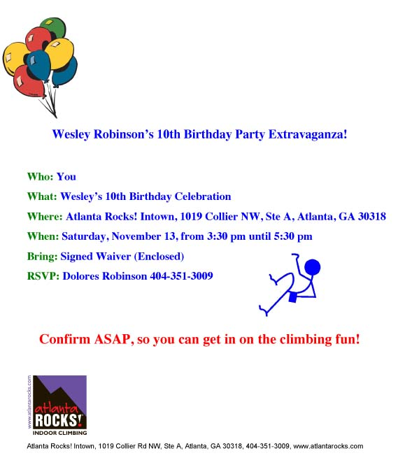Atlanta Rocks! Party Invitation 2