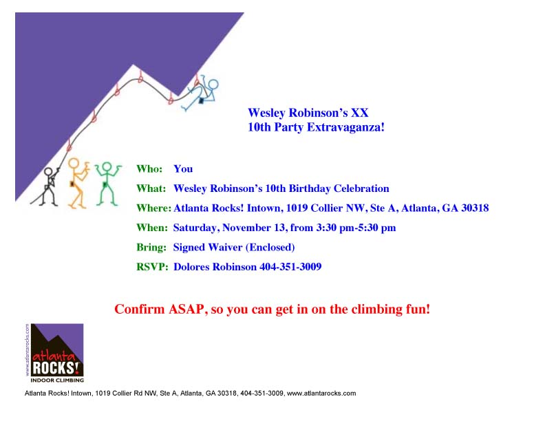 Atlanta Rocks! Birthday Invitation 2