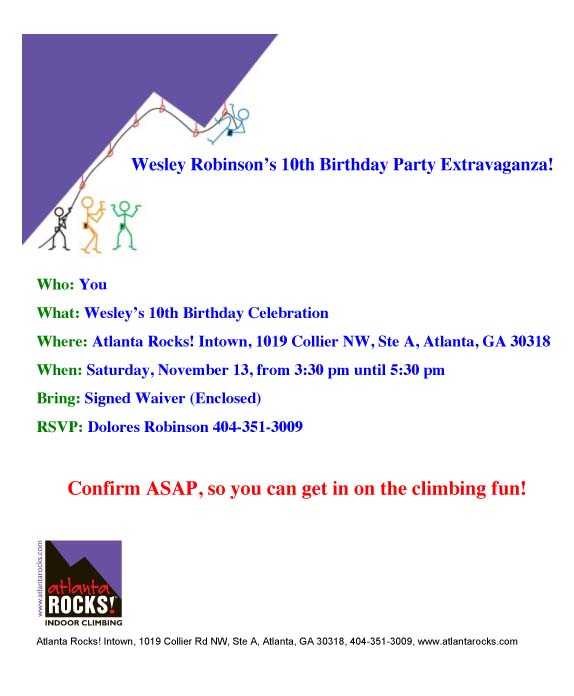 Atlanta Rocks! Party Invitation 1